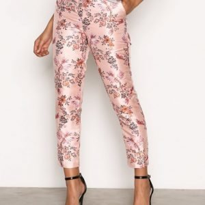 New Look Oriental Jacquard Trousers Housut Pink