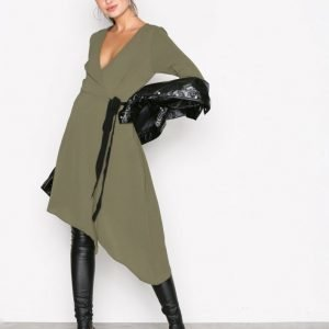 New Look Plain Asymmetric Wrap Midi Loose Fit Mekko Khaki