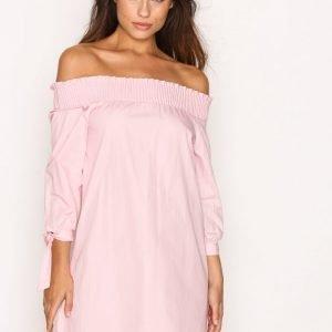New Look Poplin Bardot Dress Skater Mekko Pink