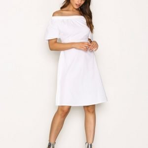 New Look Poplin Bardot Zip Midi Dress Loose Fit Mekko White