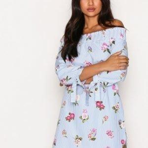 New Look Poplin Shirred Bardot Dress Loose Fit Mekko Blue