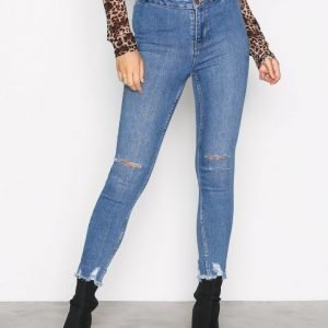 New Look Ripped Disco Pants Slim Farkut Blue