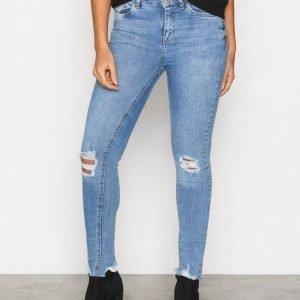 New Look Ripped Fray Skinny Jeans Farkut Blue