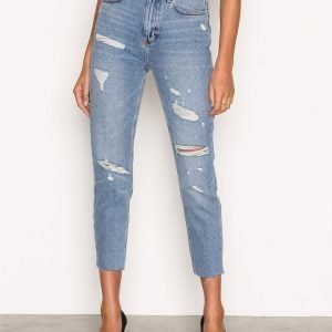 New Look Ripped Mom Jeans Loose Fit Farkut Blue