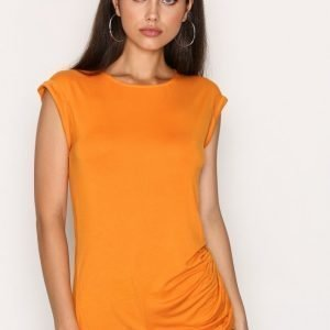 New Look Ruched Side Roll Sleeve Top Toppi Oranssi