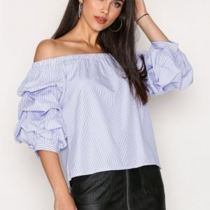 New Look Ruched Sleeve Bardot Neck Top Pitkähihainen Paita Blue / White