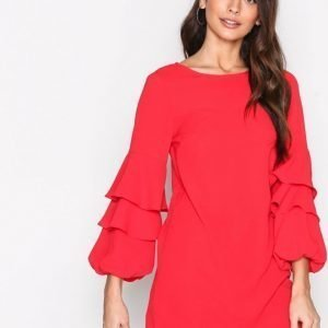 New Look Ruffle Long Sleeve Dress Loose Fit Mekko Red