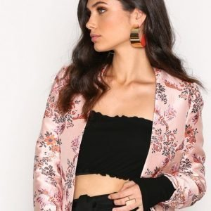 New Look Satin Floral Bird Jacquard Jacket Jakku Pink