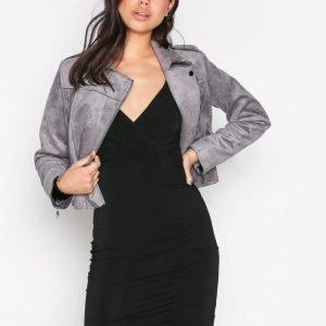 New Look Slinky Wrap Ruch Side Dress Kotelomekko Black