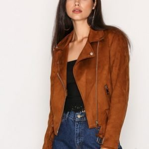New Look Suedette Biker Jacket Nahkatakki Tan