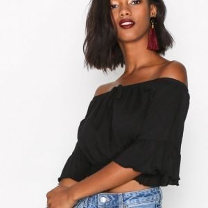 New Look Tie Up Bardot Crop Top Toppi Black