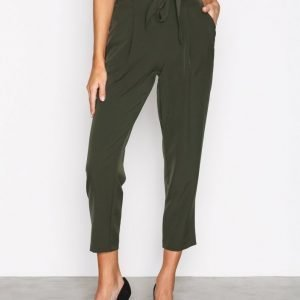 New Look Tie Waist Trousers Housut Dark Green