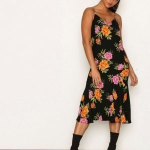 New Look V Neck Floral Print Midi Dress Skater Mekko Black Print