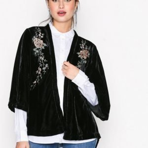 New Look Velvet Embroidered Kimono Jakku Black