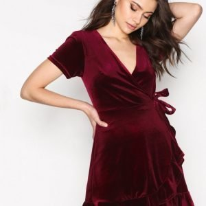 New Look Velvet Frill Wrap Dress Kotelomekko Wine