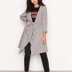 New Look Waterfall Belted Coat Pitkä Takki Pale Grey