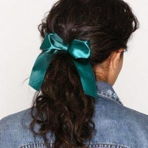 Nly Accessories Satin Bow Hair Tie Hiuslenkki Vihreä