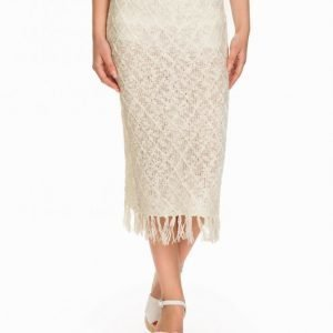 Nly Design Knitted Skirt Midihame Offwhite