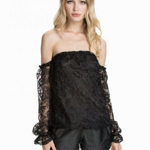 Nly Design Off-Shoulder Heavy Lace Pitkähihainen Paita Musta