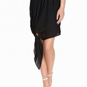 Nly Design Tied Chiffon Skirt Minihame Musta