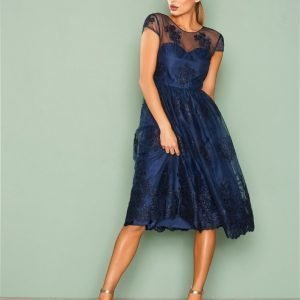 Nly Eve Decorated Short Gown Skater Mekko Navy