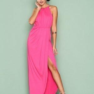 Nly Eve Drapy Slit Gown Maksimekko Tumma Vaaleanpunainen