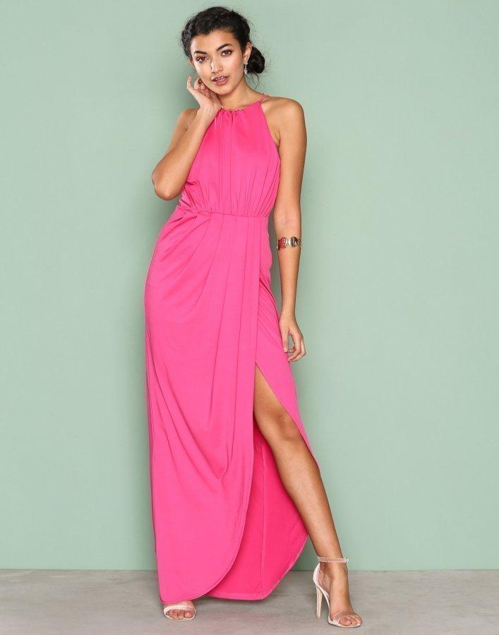 Nly Eve Drapy Slit Gown Maksimekko Tumma Vaaleanpunainen ... a0c2d526d3