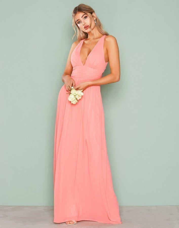 Nly Eve Empire Cross Back Dress Maksimekko Vaaleanpunainen ... 68da6f950f