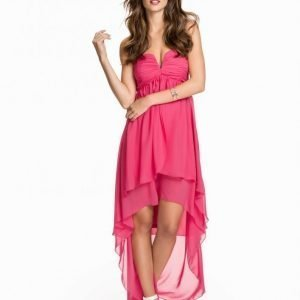 Nly Eve High Low Layer Dress Loose Fit Mekko Tumma Vaaleanpunainen