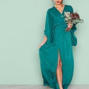 Nly Eve Kimono Sleeve Gown Maksimekko Tummanvihreä