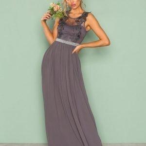 Nly Eve Lace Cover Gown Maksimekko Tummanharmaa