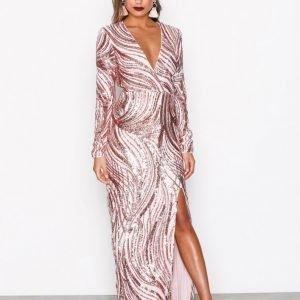 Nly Eve Luxe Glitter Gown Paljettimekko Vaaleanpunainen
