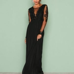 Nly Eve Mesh Lace Gown Maksimekko Musta