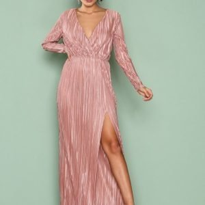 Nly Eve Pleated Long Sleeve Gown Maksimekko Rose