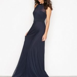 Nly Eve Seethrough Bow Gown Maksimekko Navy