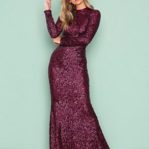 Nly Eve Sequin Polo Gown Paljettimekko Burgundy