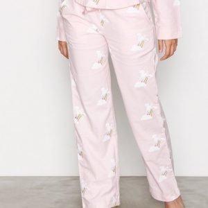 Nly Lingerie Flannel Pyjama Pants Pyjamahousut Vaaleanpunakuviollinen