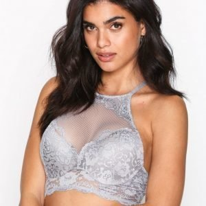 Nly Lingerie High-Neck Sexy Push-Up Bra Rintaliivit Harmaa / Hopea