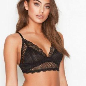 Nly Lingerie Soft Lace Bra Rintaliivit Black