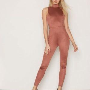 Nly One Bandage Jumpsuit Tumma Vaaleanpunainen