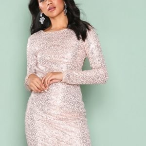 Nly One Bare Back Sequin Dress Paljettimekko Champagne