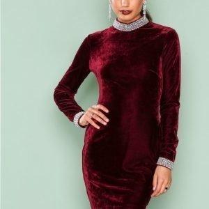 Nly One Beaded Velvet Dress Kotelomekko Burgundy