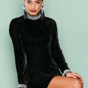 Nly One Beaded Velvet Dress Kotelomekko Musta