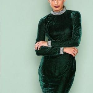 Nly One Beaded Velvet Dress Kotelomekko Tummanvihreä
