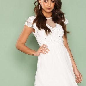 Nly One Bejeweled Lace Dress Skater Mekko Valkoinen