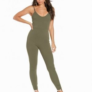 Nly One Cami Crepe Jumpsuit Khaki