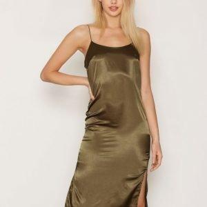 Nly One Cami Midi Satin Dress Kotelomekko Khaki
