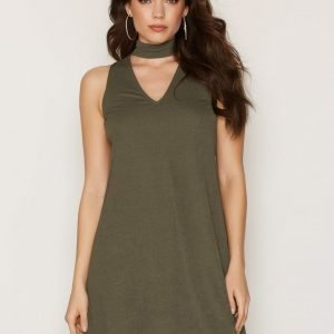 Nly One Choker Shift Dress Loose Fit Mekko Khaki