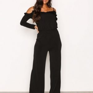 Nly One Cold Shoulder Jumpsuit Musta