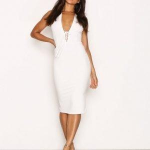 Nly One Corset Waist Plunge Dress Kotelomekko Valkoinen